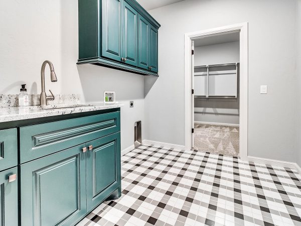 green cabinet checker tile